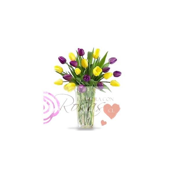 Florero 20 tulipanes a domicilio enamora con rosas cl for Plantas a domicilio santiago